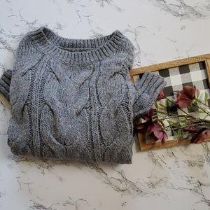 Hollister Gray Knit Crew Neck Sweater